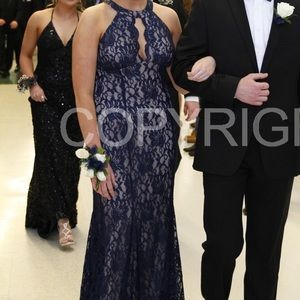 Dresses - Navy blue lace prom dress